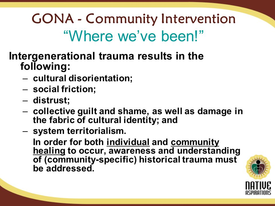 GONA - Community Intervention Where weve been.