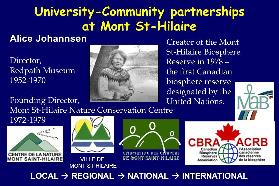 University-Community partnerships at Mont St-Hilaire Alice Johannsen Director, Redpath Museum 1952-1970 Founding Director, Mont St-Hilaire Nature Conservation Centre 1972-1979 VILLE DE MONT ST-HILAIRE Creator of the Mont St-Hilaire Biosphere Reserve in 1978 – the first Canadian biosphere reserve designated by the United Nations.