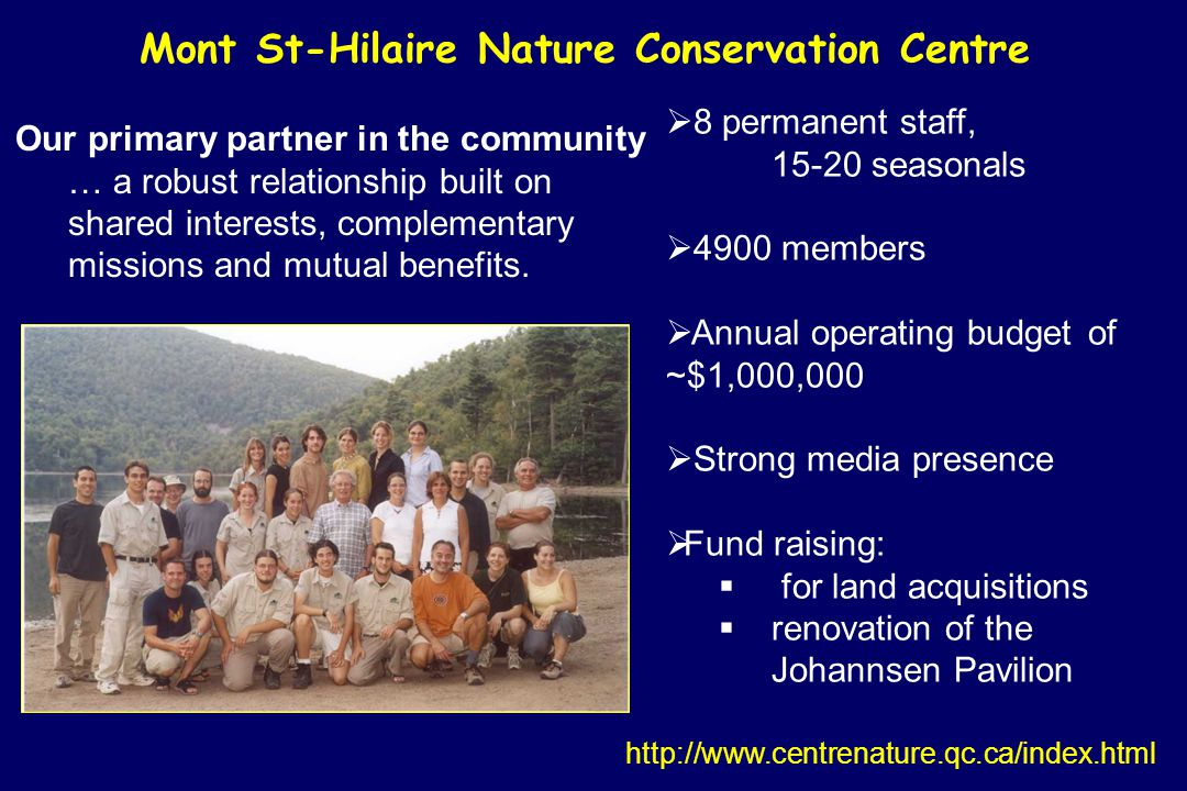 Mont St-Hilaire Nature Conservation Centre 8 permanent staff, 15-20 seasonals 4900 members Annual operating budget of ~$1,000,000 Strong media presence Fund raising: for land acquisitions renovation of the Johannsen Pavilion http://www.centrenature.qc.ca/index.html Our primary partner in the community … a robust relationship built on shared interests, complementary missions and mutual benefits.