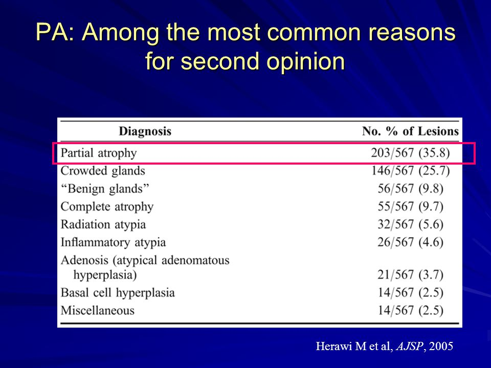 PA: Among the most common reasons for second opinion Herawi M et al, AJSP, 2005