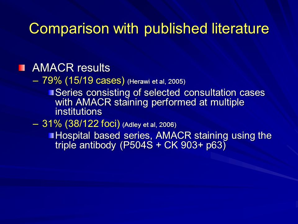 Comparison with published literature AMACR results AMACR results –79% (15/19 cases) (Herawi et al, 2005) Series consisting of selected consultation cases with AMACR staining performed at multiple institutions –31% (38/122 foci) (Adley et al, 2006) Hospital based series, AMACR staining using the triple antibody (P504S + CK 903+ p63)