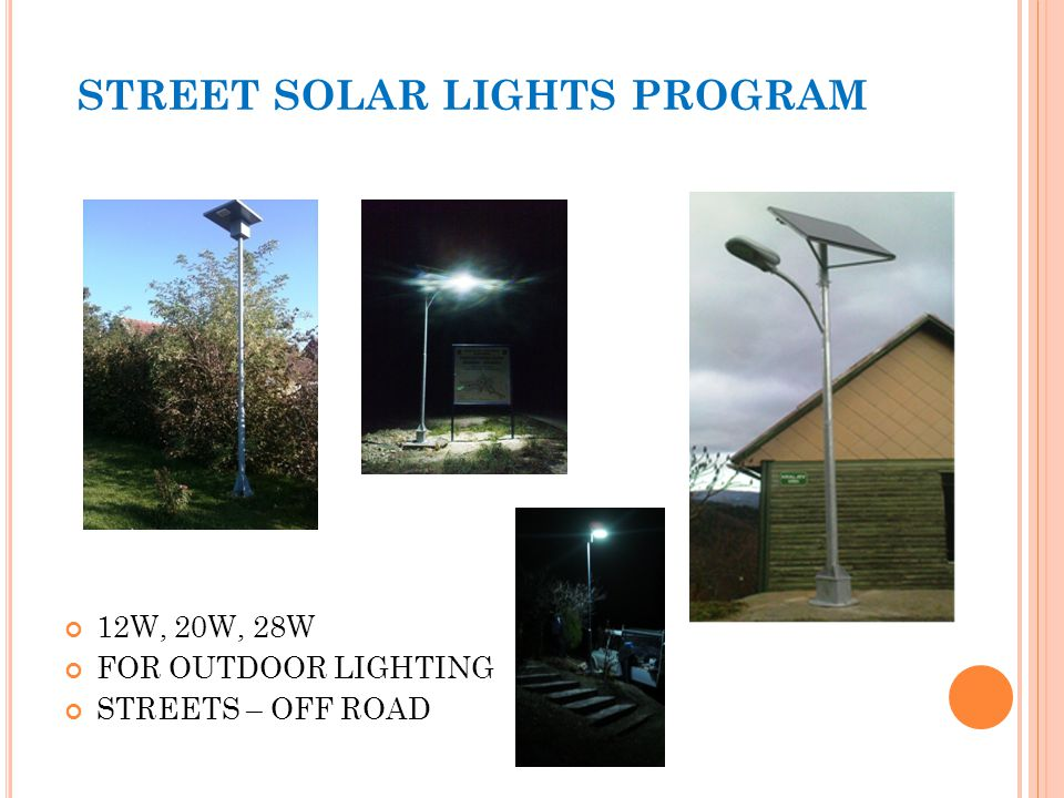 STREET SOLAR LIGHTS PROGRAM 12W, 20W, 28W FOR OUTDOOR LIGHTING STREETS – OFF ROAD