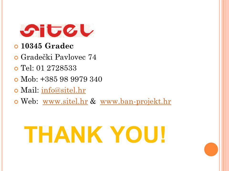 10345 Gradec Gradečki Pavlovec 74 Tel: 01 2728533 Mob: +385 98 9979 340 Mail: info@sitel.hrinfo@sitel.hr Web: www.sitel.hr & www.ban-projekt.hrwww.sit