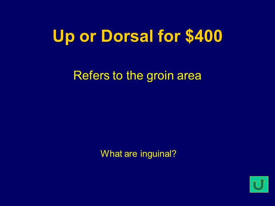 Up or Dorsal for $300 The opposite of distal What is proximal?