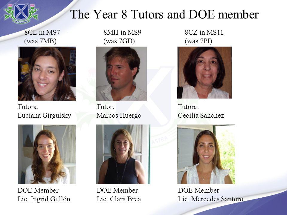The Year 8 Tutors and DOE member Tutora: Luciana Girgulsky 8GL in MS7 (was 7MB) DOE Member Lic.