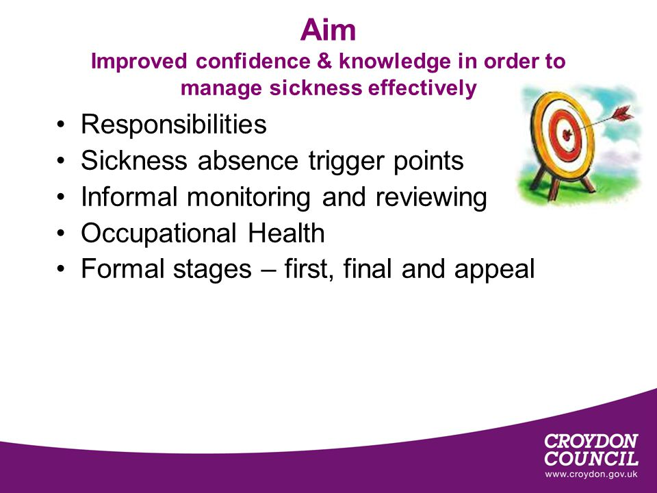 Aim Improved confidence & knowledge in order to manage sickness effectively Responsibilities Sickness absence trigger points Informal monitoring and reviewing Occupational Health Formal stages – first, final and appeal