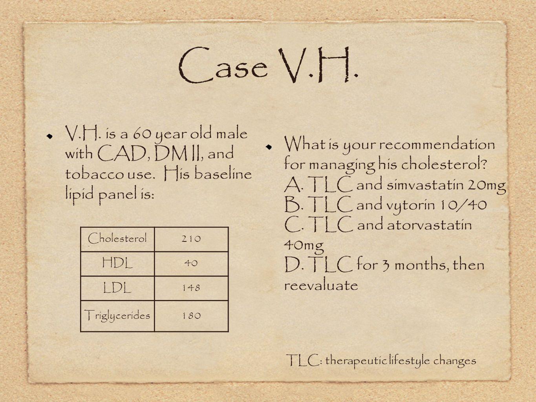 Case V.H.V.H. is a 60 year old male with CAD, DM II, and tobacco use.