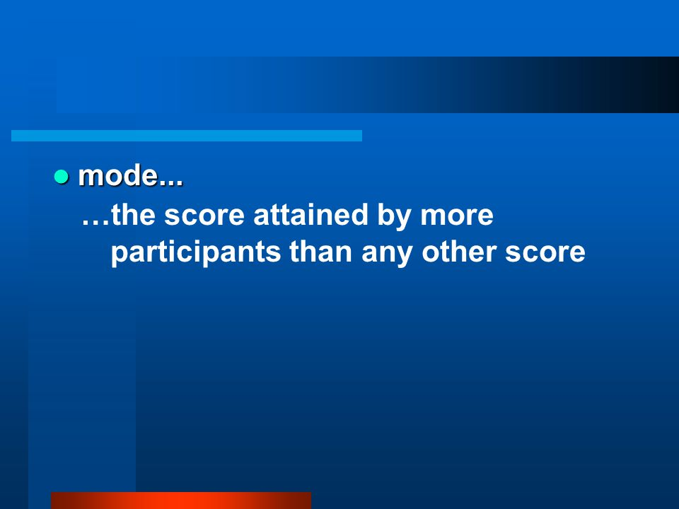 mode... mode... …the score attained by more participants than any other score