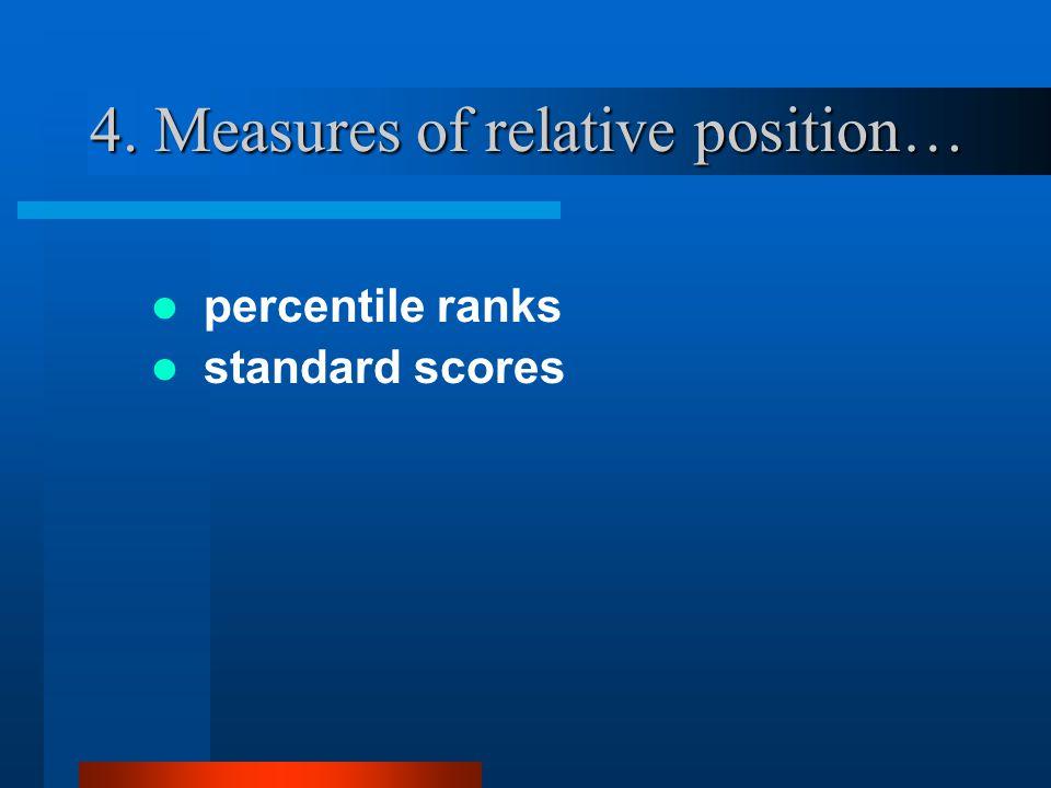 4. Measures of relative position… percentile ranks standard scores