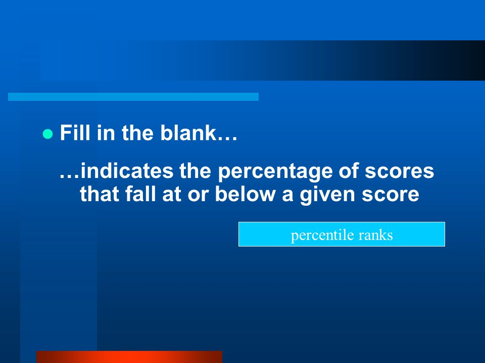 Fill in the blank… …indicates the percentage of scores that fall at or below a given score percentile ranks