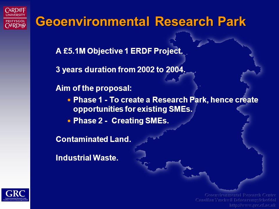 Geoenvironmental Research Centre Canolfan Ymchwil Ddaearamgylcheddol http://www.grc.cf.ac.uk A £5.1M Objective 1 ERDF Project.