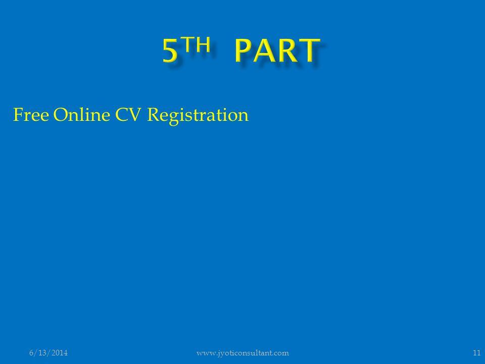Free Online CV Registration 6/13/201411www.jyoticonsultant.com