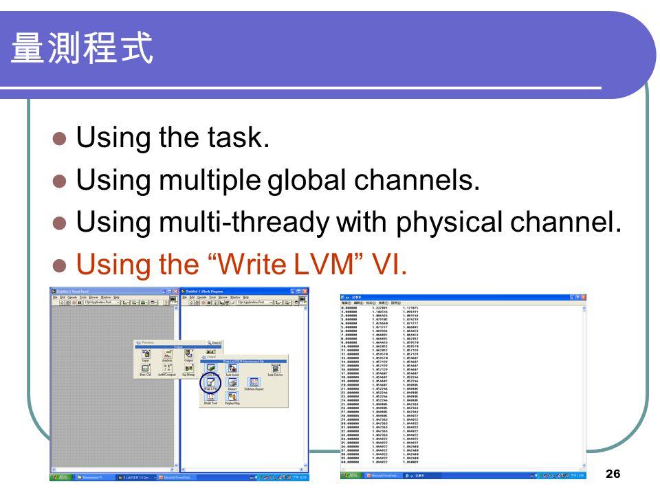 26 Using the task. Using multiple global channels. Using multi-thready with physical channel. Using the Write LVM VI.