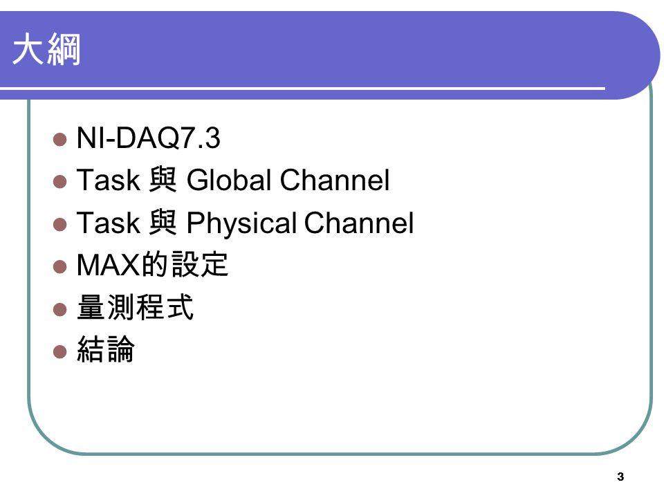 3 NI-DAQ7.3 Task Global Channel Task Physical Channel MAX