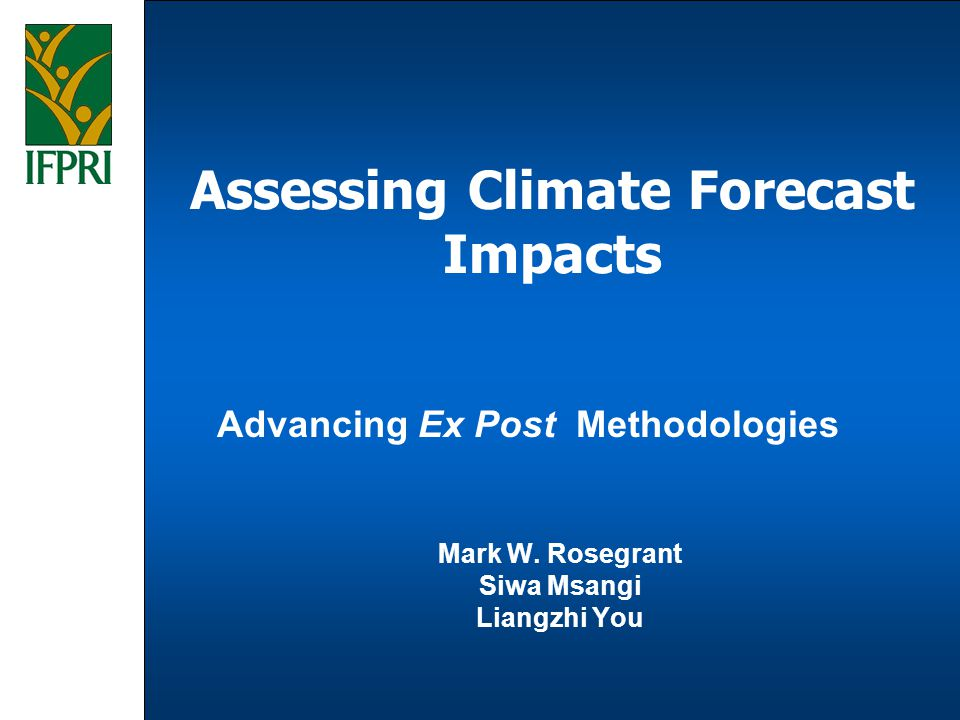 The Growing Importance of Climate Forecast Information Increasing frequency of extreme weather events and changing global trends in climate characteristics The vulnerability of increasingly complex global economic and food systems to environmental factors In the face of increasing uncertainty, policy makers are demanding better information