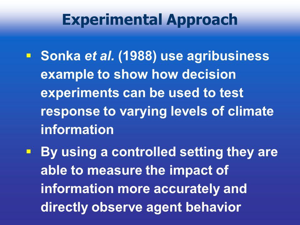 Experimental Approach Sonka et al.