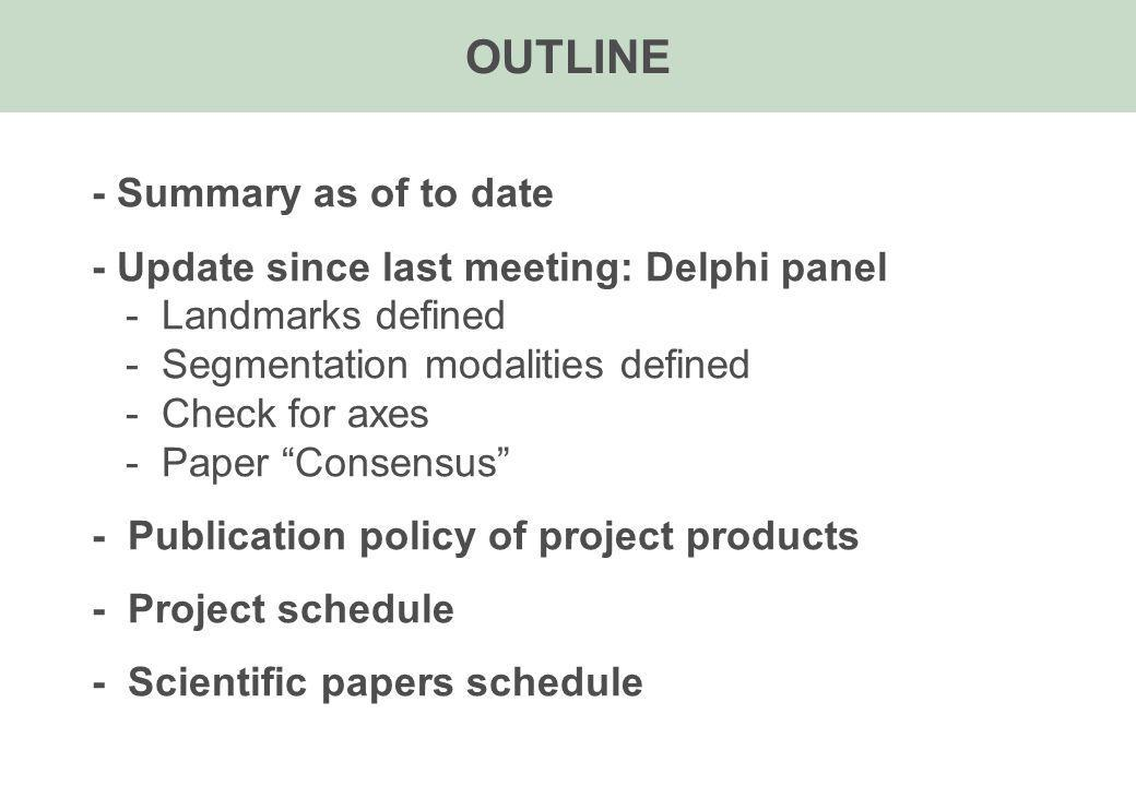 OUTLINE - Summary as of to date - Update since last meeting: Delphi panel - Landmarks defined - Segmentation modalities defined - Check for axes - Paper Consensus - Publication policy of project products - Project schedule - Scientific papers schedule