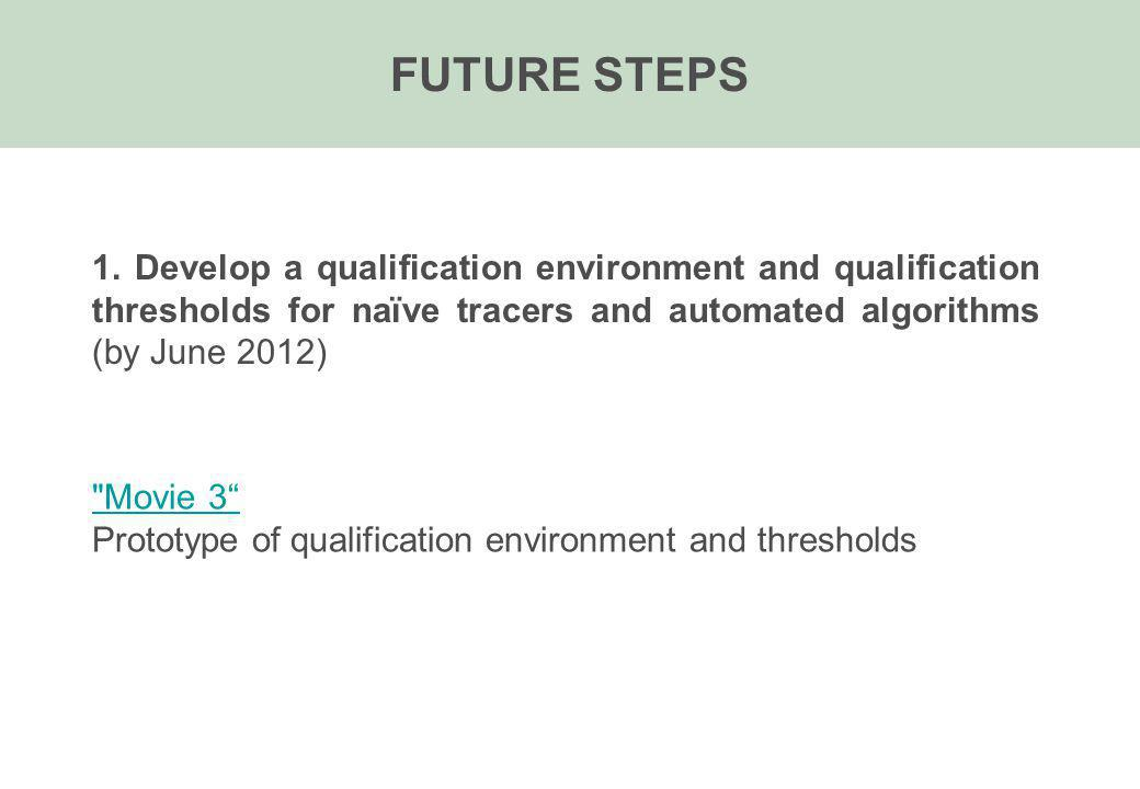 FUTURE STEPS 1. Develop a qualification environment and qualification thresholds for naïve tracers and automated algorithms (by June 2012)