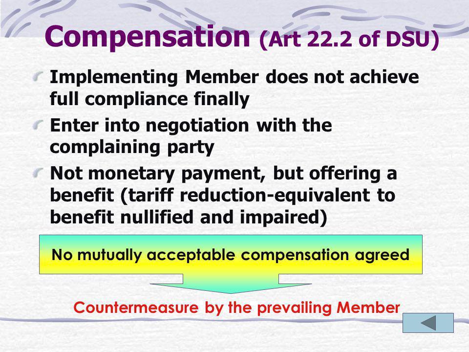 Compensation and suspend concession (Art 22)
