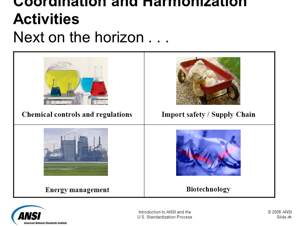 © 2008 ANSI Slide 13 Introduction to ANSI and the U.S. Standardization Process Coordination and Harmonization Activities Next on the horizon... Energy