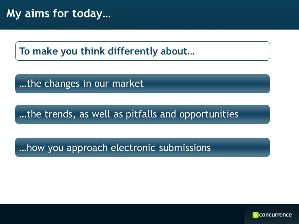 …the changes in our market My aims for today… …the trends, as well as pitfalls and opportunities …how you approach electronic submissions To make you think differently about…