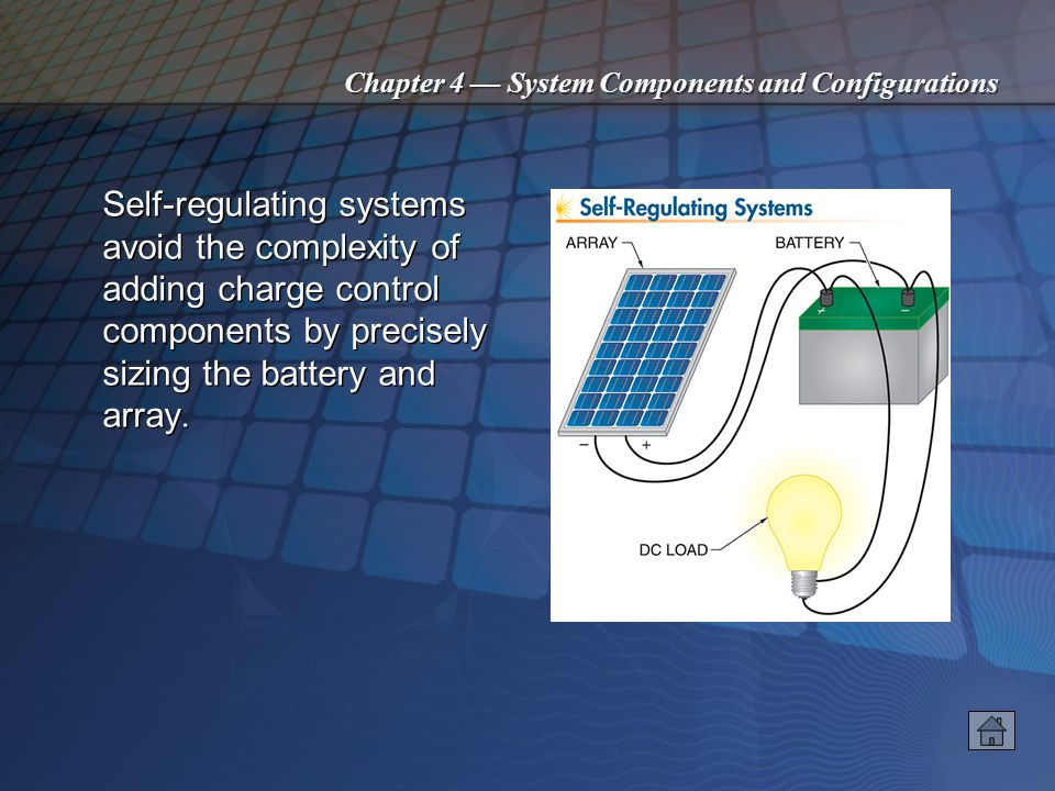 Chapter 4 System Components and Configurations The simplest type of PV system is the direct- coupled system, consisting of only an array and a DC load.
