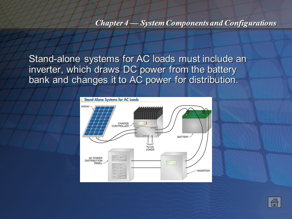 Chapter 4 System Components and Configurations Systems with charge control regulate the charging current into the battery. Regulation may involve disc