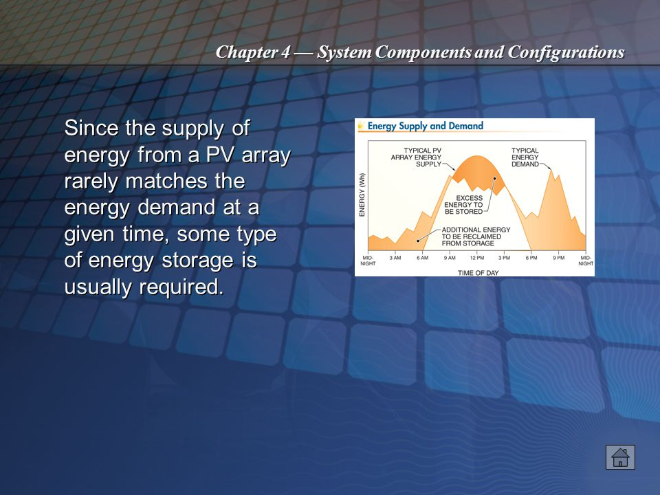 Chapter 4 System Components and Configurations Since the supply of energy from a PV array rarely matches the energy demand at a given time, some type of energy storage is usually required.