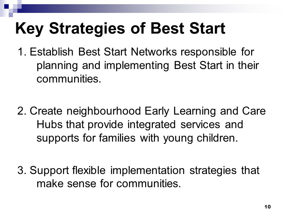 10 Key Strategies of Best Start 1.