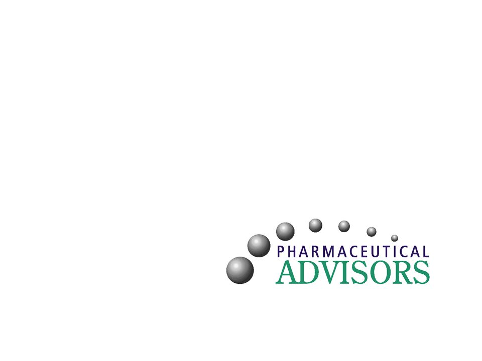 2 Pharmaceutical Advisors –Core staff with average 20 years industry experience –Network of over 100 Advisors and growing –Covering every discipline for pharmaceutical development and commercialization –Founded in 2001, currently more than 75 clients Small and mid-sized companies Emerging pre-clinical and clinical stage companies Top 5 pharmaceutical companies Suppliers to the Life Sciences