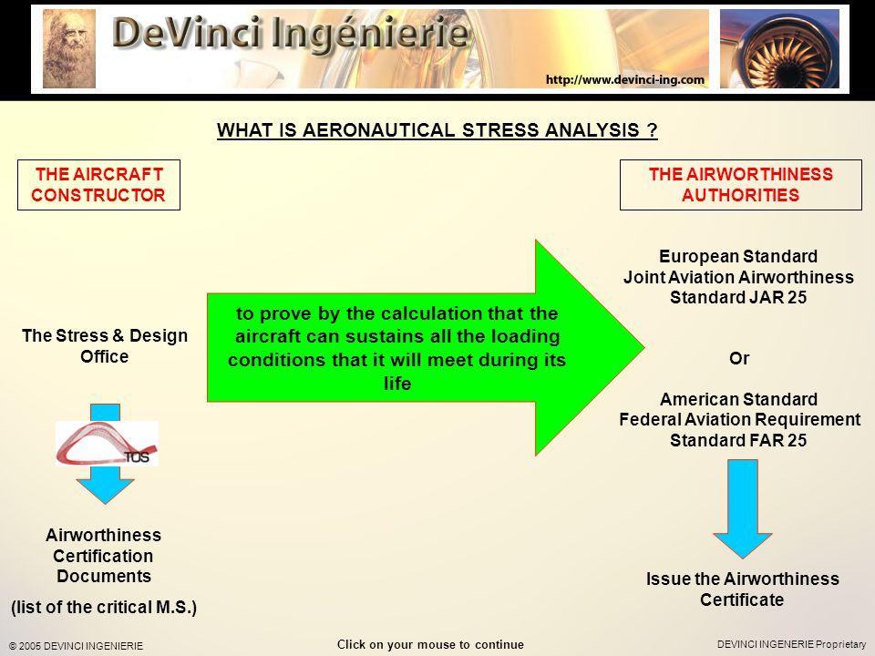 DEVINCI INGENERIE Proprietary © 2005 DEVINCI INGENIERIE WHAT IS AERONAUTICAL STRESS ANALYSIS .