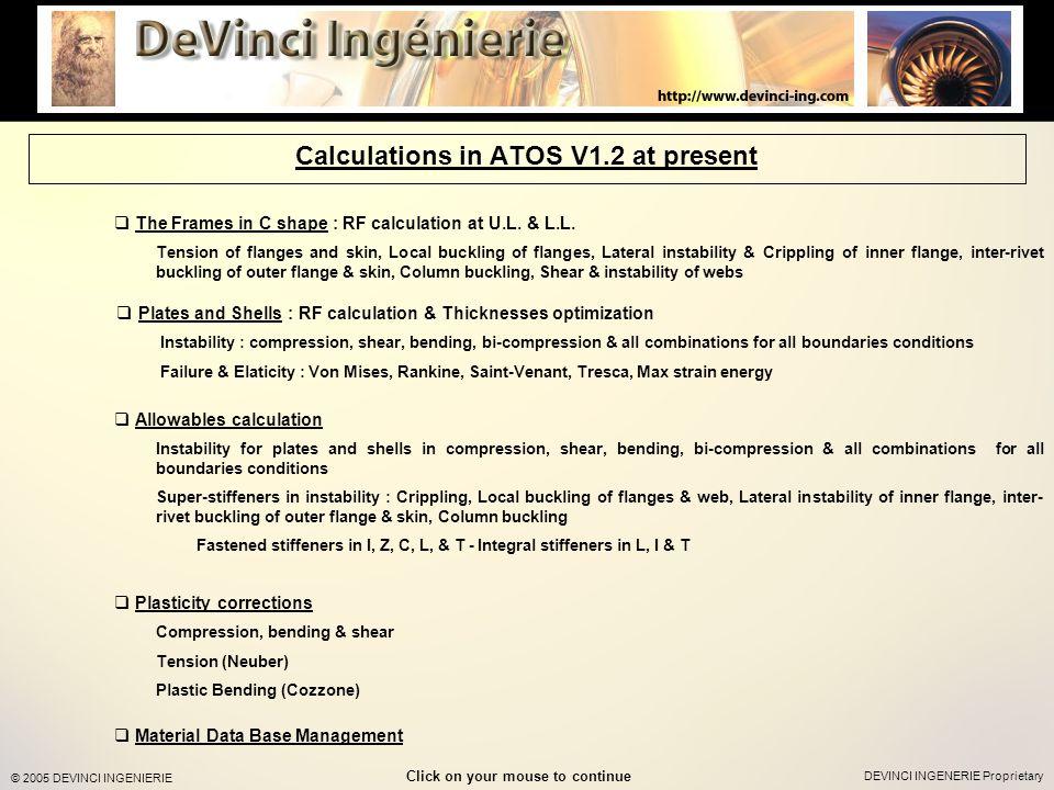 DEVINCI INGENERIE Proprietary © 2005 DEVINCI INGENIERIE The Frames in C shape : RF calculation at U.L.
