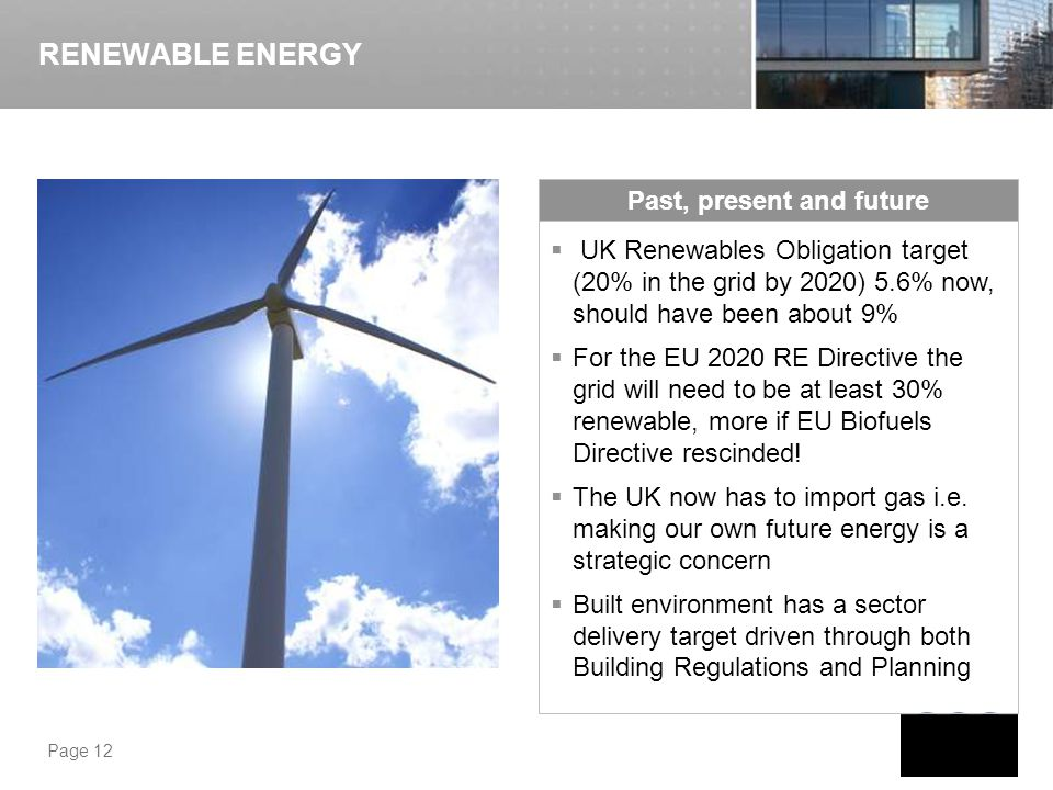 Page 12 UK Renewables Obligation target (20% in the grid by 2020) 5.6% now, should have been about 9% For the EU 2020 RE Directive the grid will need