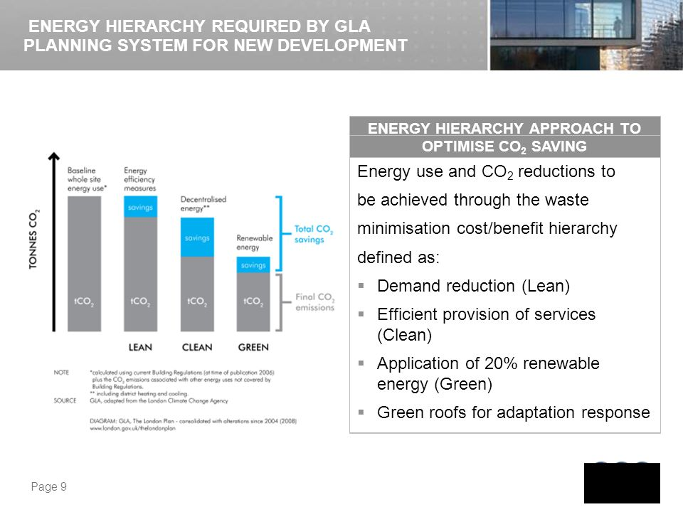 Page 9 ENERGY HIERARCHY APPROACH TO OPTIMISE CO 2 SAVING ENERGY HIERARCHY REQUIRED BY GLA PLANNING SYSTEM FOR NEW DEVELOPMENT Energy use and CO 2 redu
