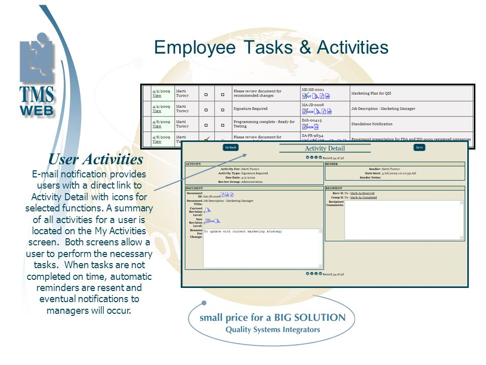 Employee Tasks & Activities User Activities E-mail notification provides users with a direct link to Activity Detail with icons for selected functions.