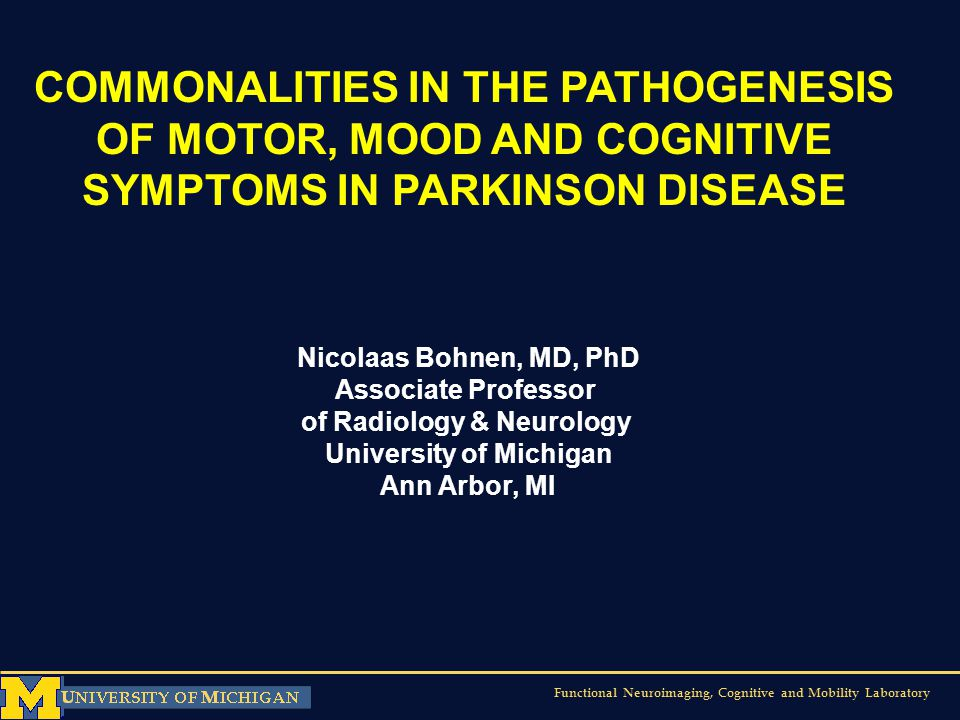 Functional Neuroimaging, Cognitive and Mobility Laboratory COMMONALITIES IN THE PATHOGENESIS OF MOTOR, MOOD AND COGNITIVE SYMPTOMS IN PARKINSON DISEAS