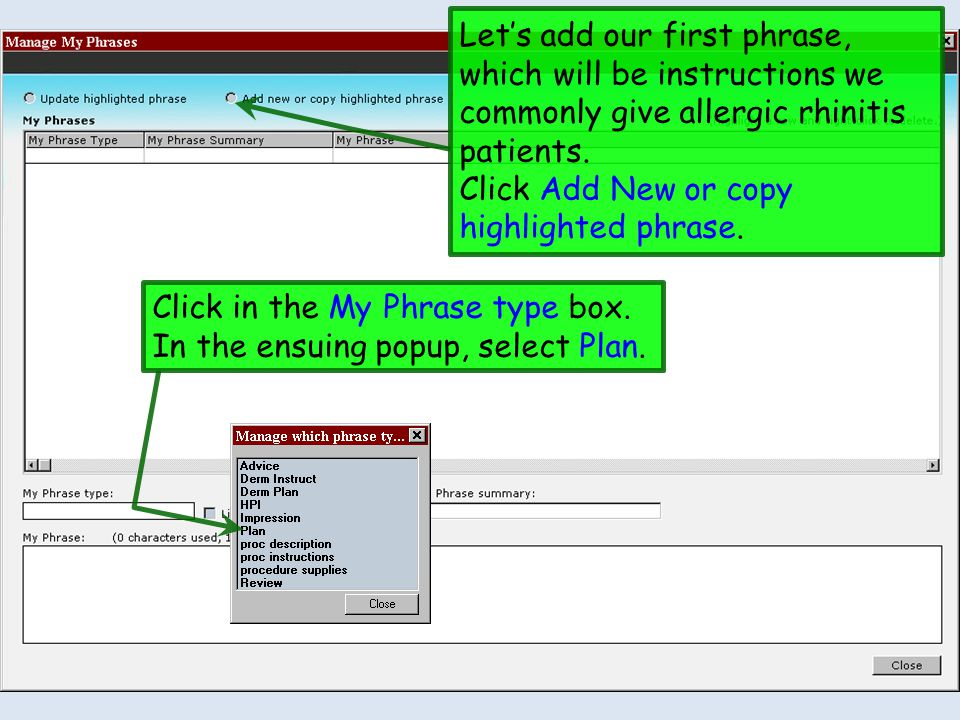 Lets add our first phrase, which will be instructions we commonly give allergic rhinitis patients. Click Add New or copy highlighted phrase. Click in