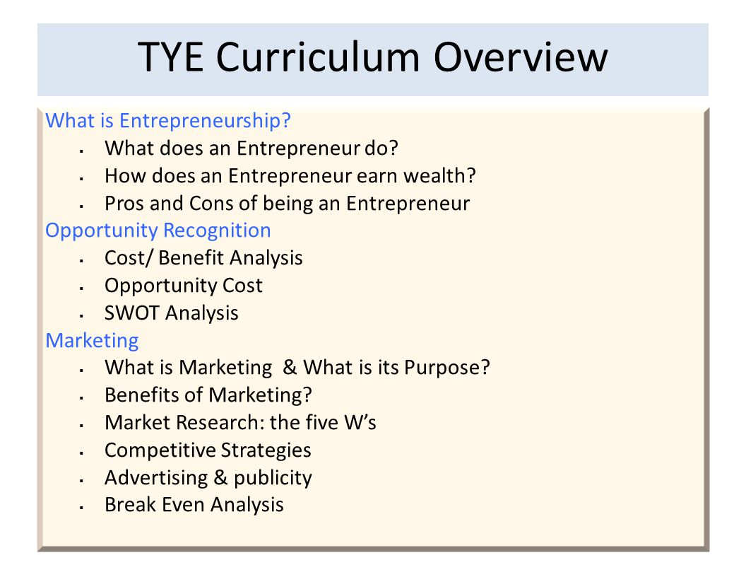 TYE Curriculum Overview What is Entrepreneurship. What does an Entrepreneur do.