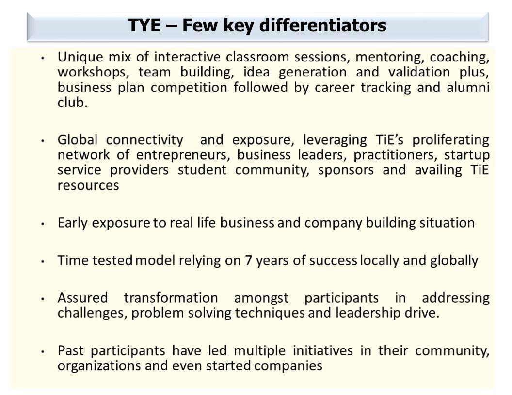 TYE – Few key differentiators