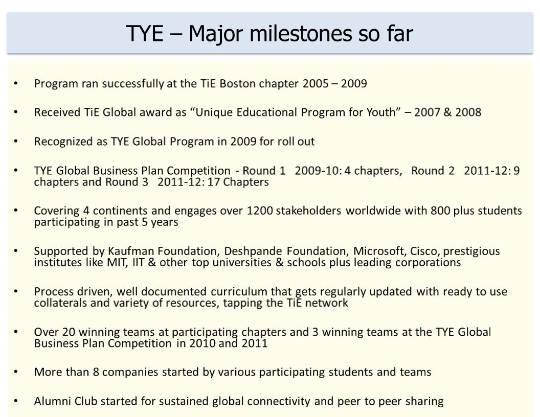 TYEs bigger cause is Social Development TYE Global program is committed to create and nurture future generation of entrepreneurs and leaders and make positive contribution to building a strong network of youth across TiE to serve communities and ecosystems worldwide.