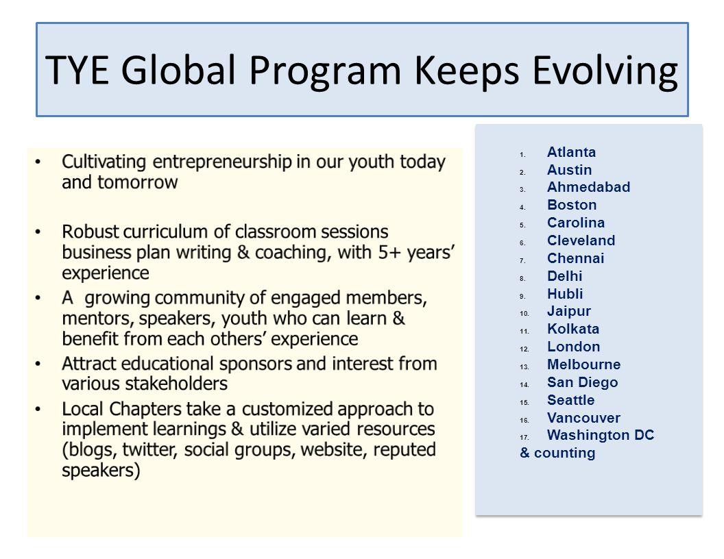TYE Global Program Keeps Evolving 1. Atlanta 2. Austin 3.