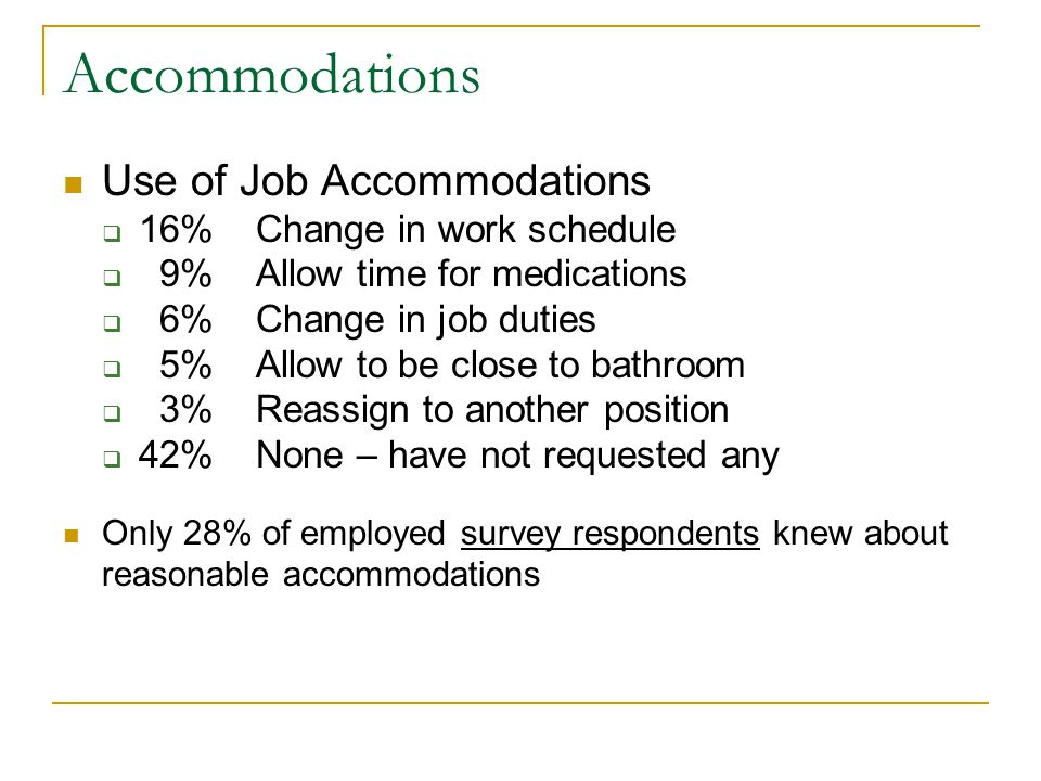 Accommodations Use of Job Accommodations 16% Change in work schedule 9% Allow time for medications 6% Change in job duties 5% Allow to be close to bathroom 3% Reassign to another position 42% None – have not requested any Only 28% of employed survey respondents knew about reasonable accommodations