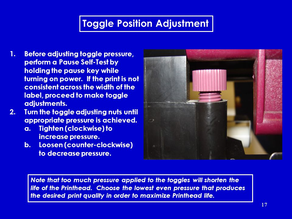 17 Toggle Position Adjustment Toggle position adjustment 1.Before adjusting toggle pressure, perform a Pause Self-Test by holding the pause key while turning on power.