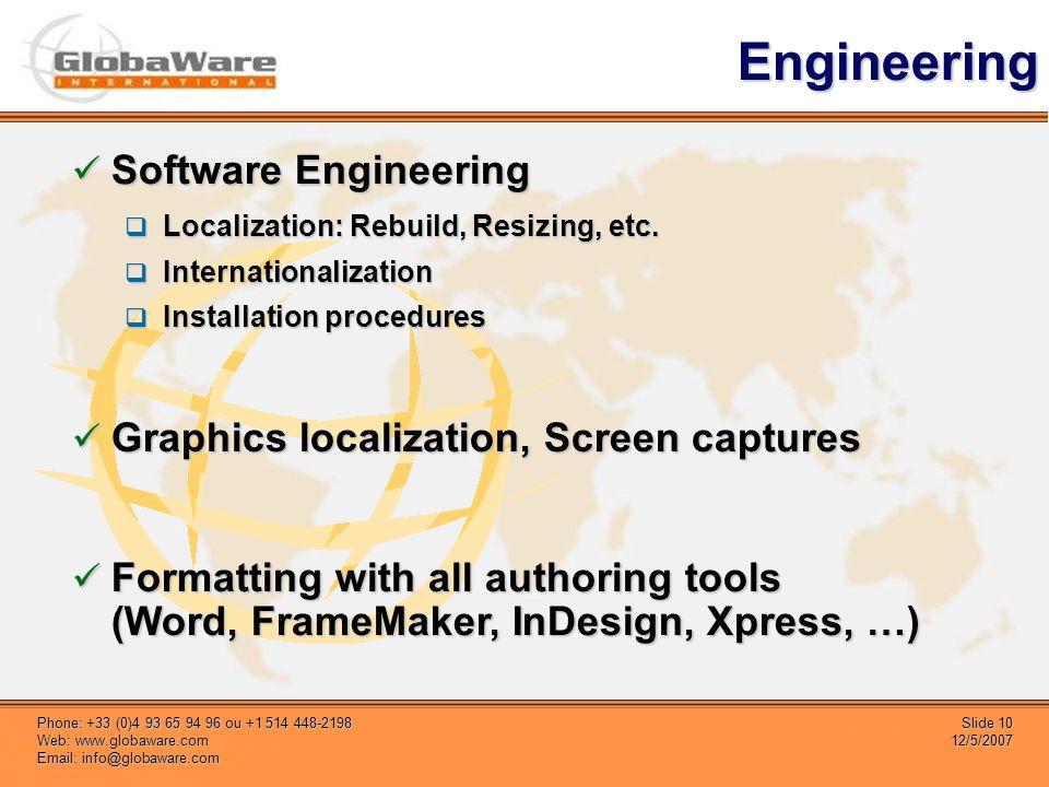 Slide 10 12/5/2007 Phone: +33 (0)4 93 65 94 96 ou +1 514 448-2198 Web: www.globaware.com Email: info@globaware.com Engineering Software Engineering Software Engineering Localization: Rebuild, Resizing, etc.