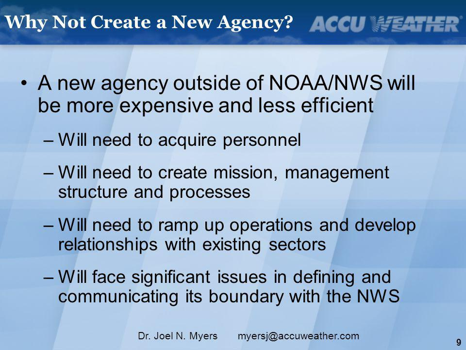 10 Dr.Joel N. Myers myersj@accuweather.com Why Use the NWS.