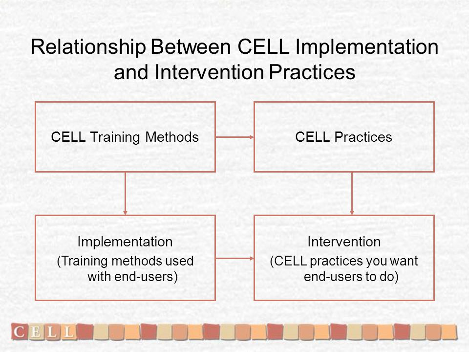 Relationship Between CELL Implementation and Intervention Practices Implementation (Training methods used with end-users) Intervention (CELL practices you want end-users to do) CELL Training MethodsCELL Practices