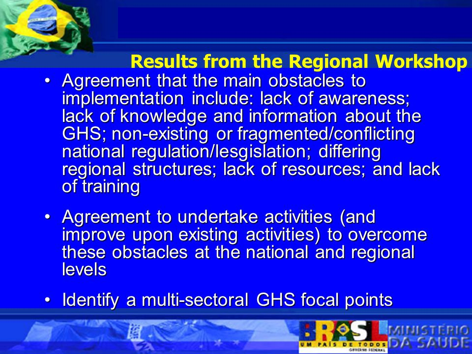 Agreement that the main obstacles to implementation include: lack of awareness; lack of knowledge and information about the GHS; non-existing or fragmented/conflicting national regulation/lesgislation; differing regional structures; lack of resources; and lack of trainingAgreement that the main obstacles to implementation include: lack of awareness; lack of knowledge and information about the GHS; non-existing or fragmented/conflicting national regulation/lesgislation; differing regional structures; lack of resources; and lack of training Agreement to undertake activities (and improve upon existing activities) to overcome these obstacles at the national and regional levelsAgreement to undertake activities (and improve upon existing activities) to overcome these obstacles at the national and regional levels Identify a multi-sectoral GHS focal pointsIdentify a multi-sectoral GHS focal points Results from the Regional Workshop