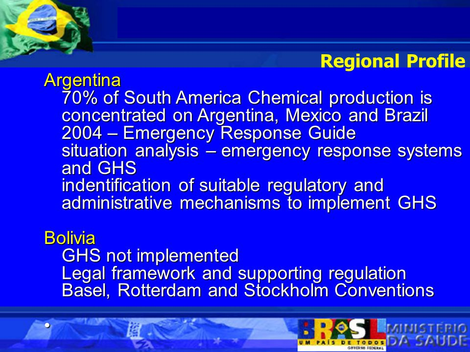 Bolivia National Profile and National Implementation Plan for POPs develop strategies for managing Chemicals work with the private sector and NGOs to draft materials on packaging and labellling involve Ministry of Health to GHS Implementation process of certifying laboratories Chile Established a sub-committee (health, labour, agriculture, transport, environment, economics, civil society and trade unions) Regional Profile