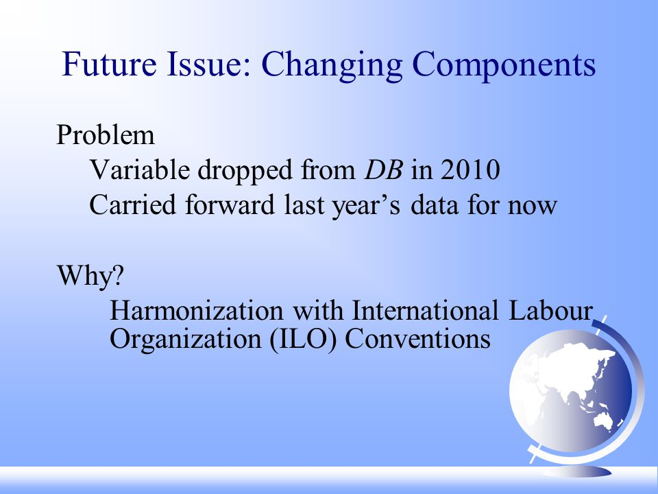 Future Issue: Changing Components Problem Variable dropped from DB in 2010 Carried forward last years data for now Why.