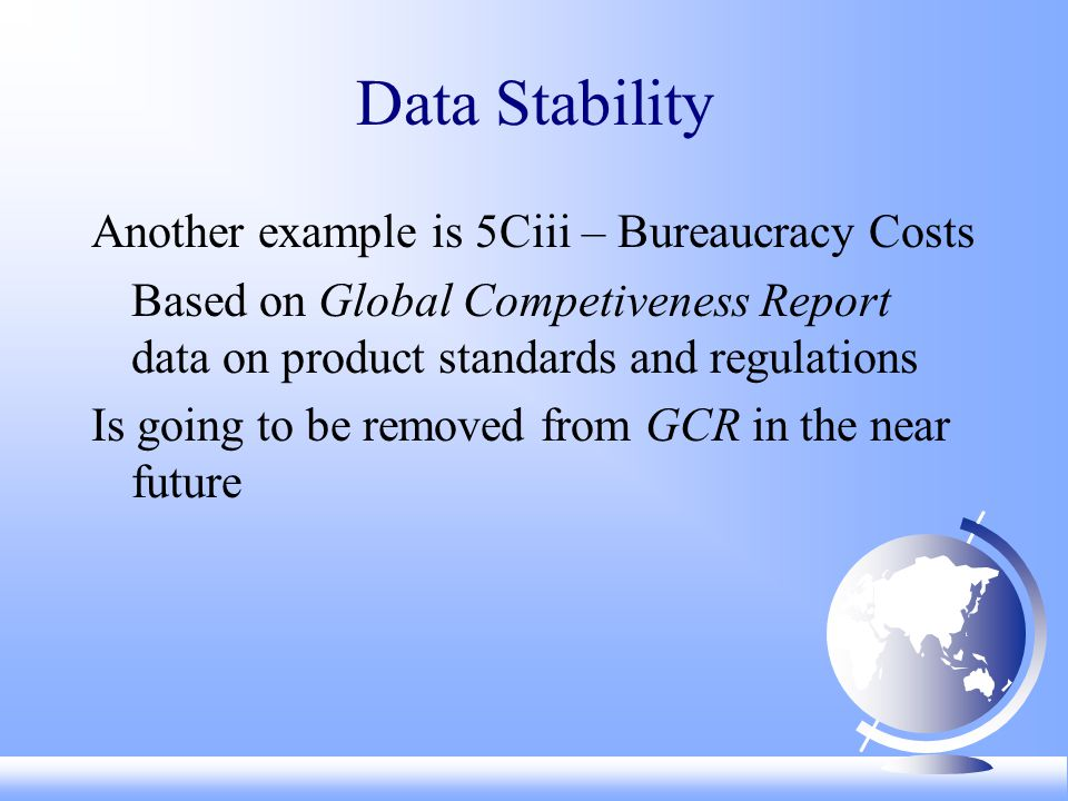 Data Stability Another example is 5Ciii – Bureaucracy Costs Based on Global Competiveness Report data on product standards and regulations Is going to be removed from GCR in the near future